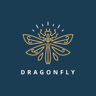Modello di logo di lusso semplice libellula