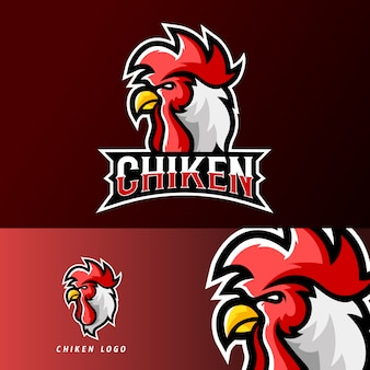 Modello di logo di mascotte di gioco sport o esport di pollo