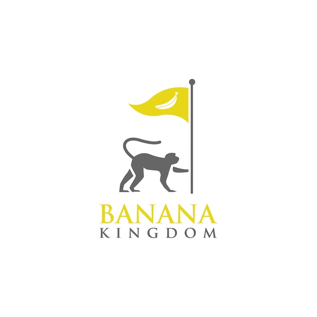 Modello di logo di monkey banana kingdom