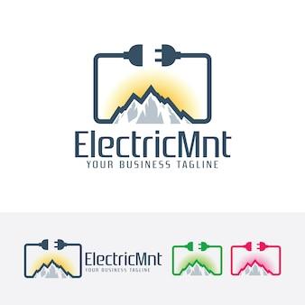 Modello di logo di montagna elettrica