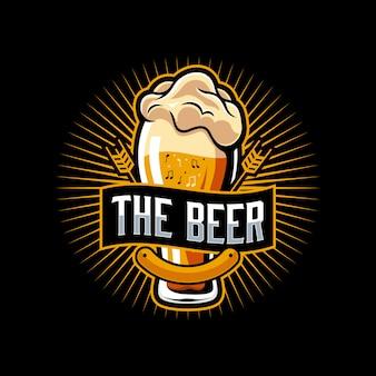 Modello di logo di musica di birra
