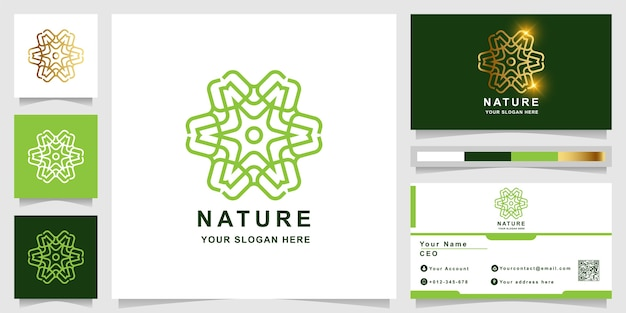 Modello di logo di natura, fiore, boutique o ornamento con design di biglietto da visita. può essere utilizzato spa, salone, bellezza o design del logo boutique.