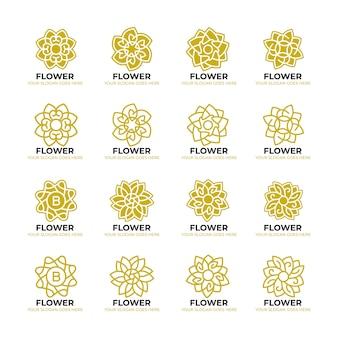 Modello di logo di natura geometrica del fiore
