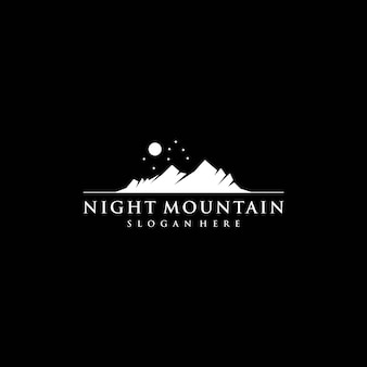 Modello di logo di notte mountain silhouette