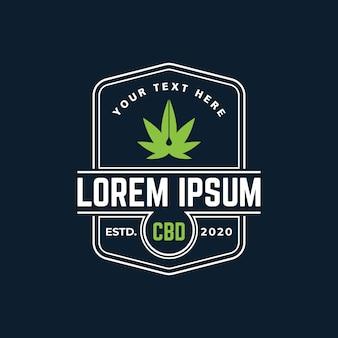 Modello di logo di olio di cbd di cannabis