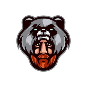 Modello di logo di orso cacciatore