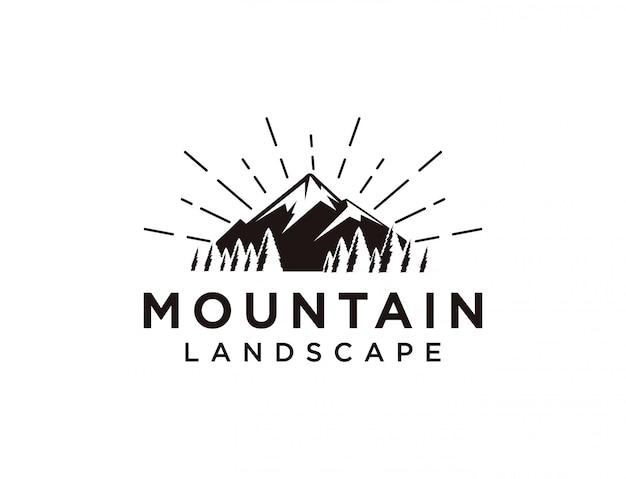 Modello di logo di paesaggio di montagna
