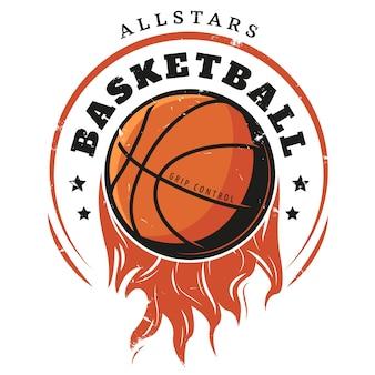Modello di logo di pallacanestro vintage colorato
