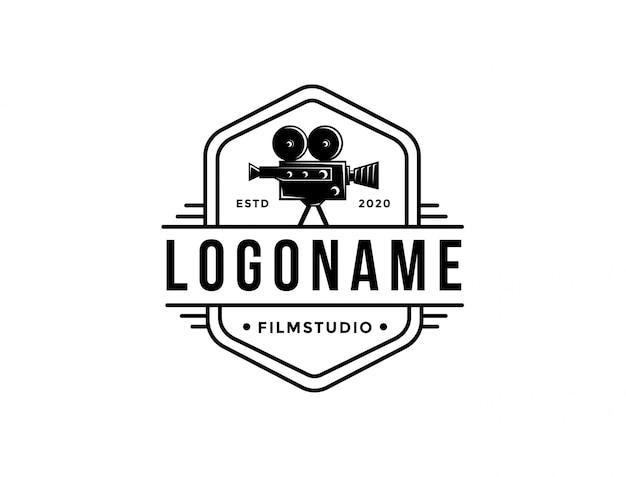 Modello di logo di pellicola fotocamera vintage vecchio