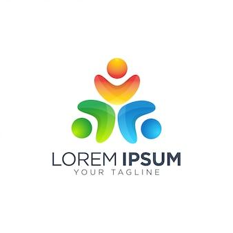 Modello di logo di persone della comunità