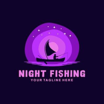 Modello di logo di pesca notturna