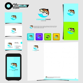 Modello di logo di pesce con cancelleria di branding