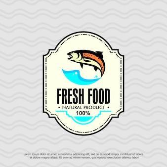 Modello di logo di pesce, prodotto naturale di cibo fresco