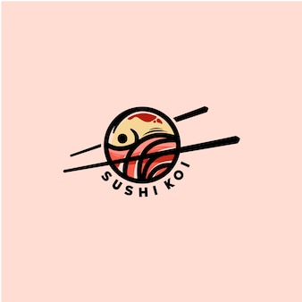 Modello di logo di pesce sushi