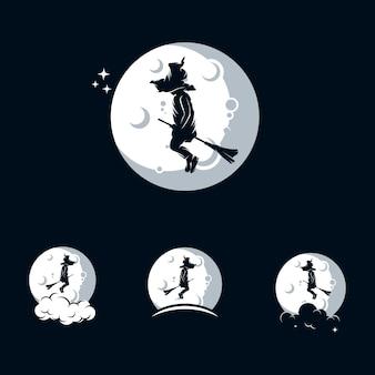 Modello di logo di piccola strega con la luna