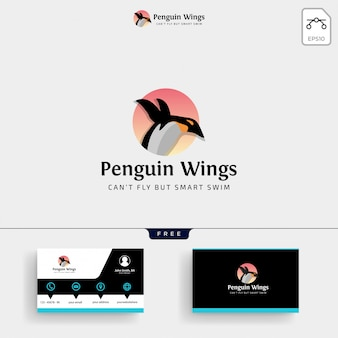 Modello di logo di pinguini e biglietto da visita
