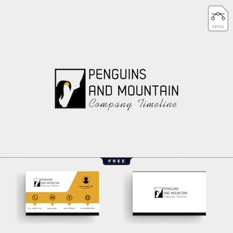Modello di logo di pinguino e montagna e biglietto da visita