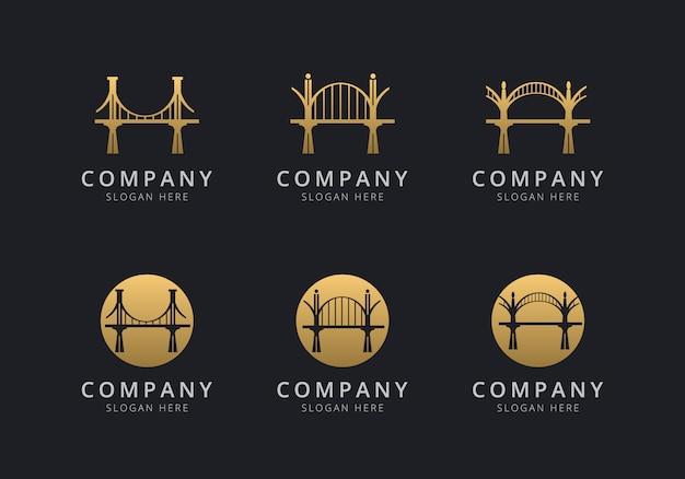 Modello di logo di ponte con colore stile dorato per l'azienda