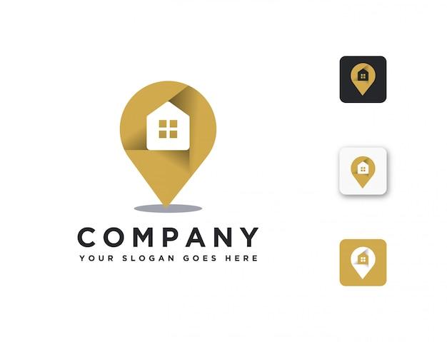 Modello di logo di posizione pin casa immobiliare