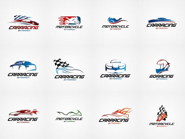 Modello di logo di progettazione di corse automobilistiche