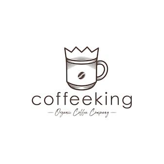 Modello di logo di re del caffè
