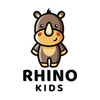 Modello di logo di rhino kids