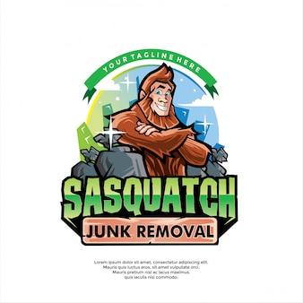 Modello di logo di rimozione spazzatura bigfoot