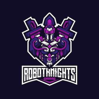 Modello di logo di robot knight esport