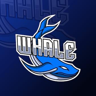 Modello di logo di sport di gioco della mascotte dei pesci balena blu per squadra squadra