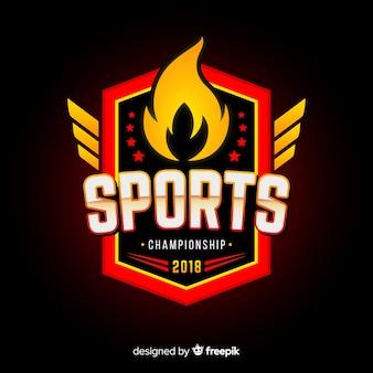Modello di logo di sport moderno con disegno astratto
