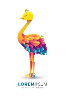 Modello di logo di struzzo colorato
