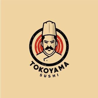 Modello di logo di sushi del cuoco unico
