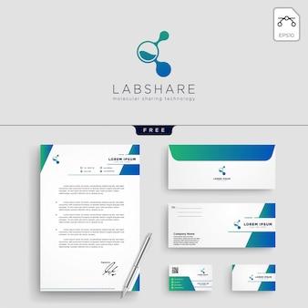 Modello di logo di tecnologia di condivisione di laboratorio