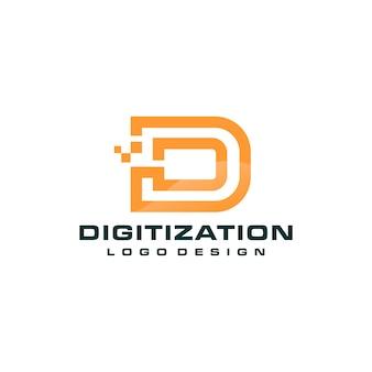 Modello di logo di tecnologia di lettera d pixel
