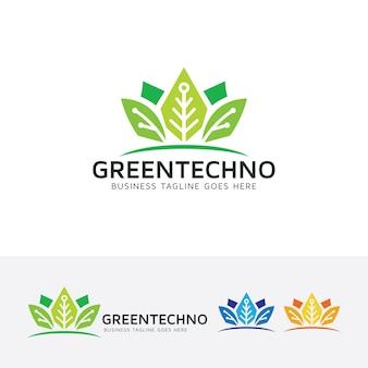 Modello di logo di tecnologia verde