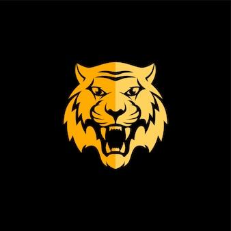 Modello di logo di tema di vista frontale tigre intimidatorio