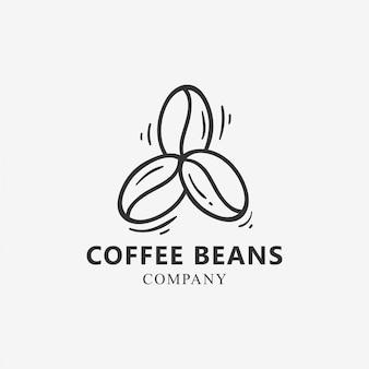 Modello di logo di tre chicchi di caffè