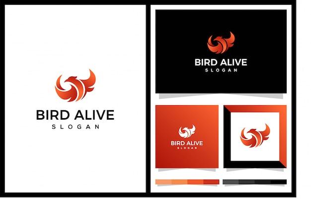 Modello di logo di uccello vivo