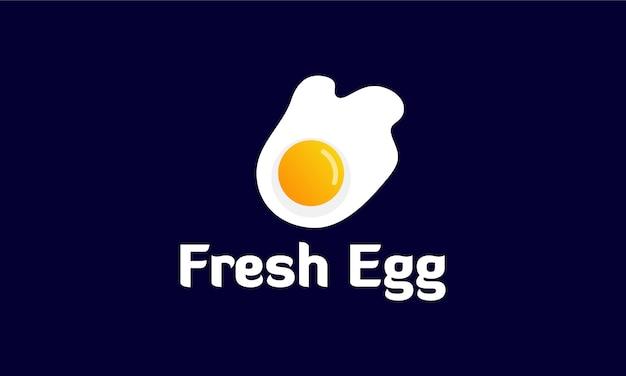 Modello di logo di uovo fritto fresco