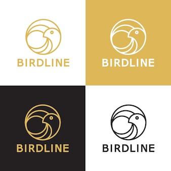 Modello di logo di vettore di linea di uccello