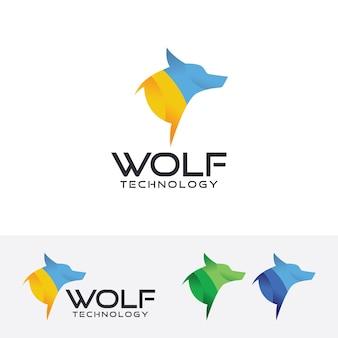 Modello di logo di vettore di tecnologia di lupo