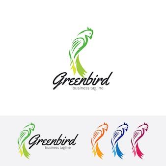 Modello di logo di vettore di uccello verde