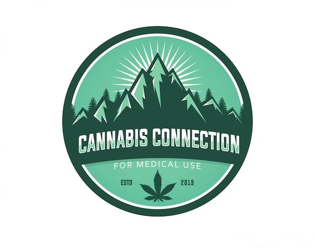 Modello di logo di vettore di uso medico della cannabis della montagna