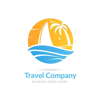 Modello di logo di viaggio dettagliato creativo