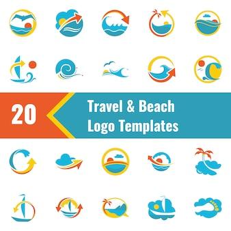Modello di logo di viaggio e spiaggia