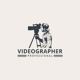 Modello di logo di videographer