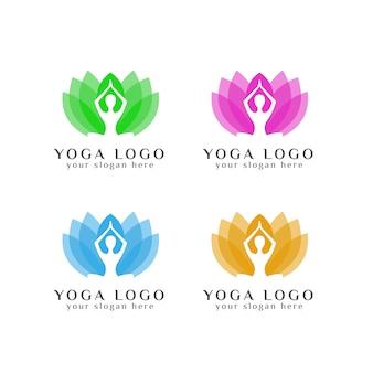 Modello di logo di yoga nel fiore di loto