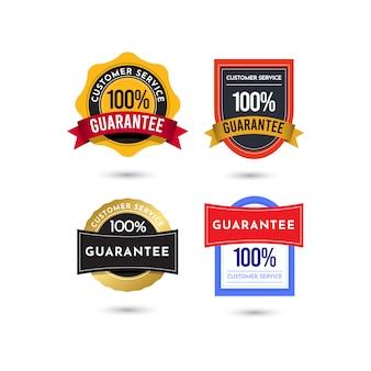 Modello di logo distintivo del servizio clienti di garanzia al 100%