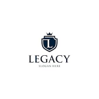 Modello di logo distintivo di scudo lettera l
