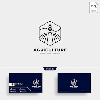 Modello di logo e biglietto da visita di agricoltura
